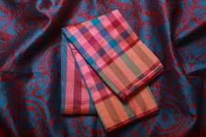 Multi Color Pink and Blue Checked Soft Silk Saree