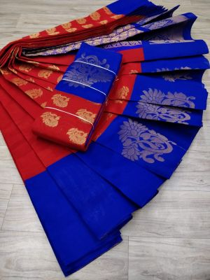 Chilli Red and Ink Blue Colur Silk Cotton Saree