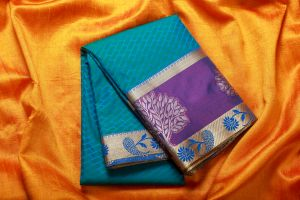 Cyan Blue with Ink Blue Karishma Silk Saree