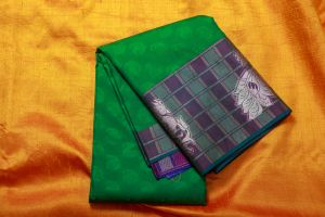 Dark Green with Purple Karishma Silk Saree