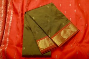 Dark Olive Green Fancy Silk Saree
