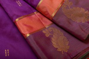 Dark Purple with Green Color Soft Silk Saree