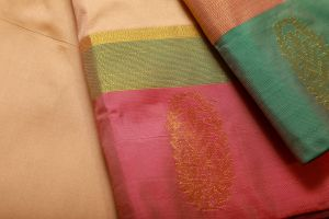 Half White and Green Fancy Silk Saree