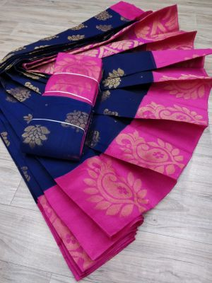 Midnight Blue and Hot Pink Color Silk Cotton Saree