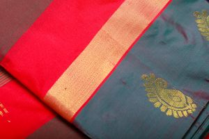 Multi Color Horizontal Lines Red and Brown Fine Quality Soft Silk Saree