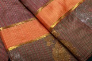 Multicolor Brown and Red vertical lines Fancy Silk Saree