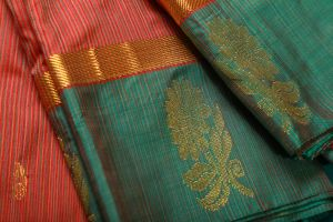 Multicolor Red vertical lines Fancy Silk Saree
