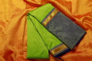 Parrot Green and Blue Color Fine Quality Soft Silk Saree