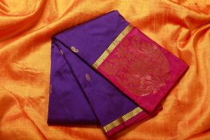 Purple and Red Color Fine Quality Soft Silk Saree