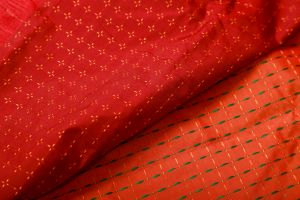 Red Orange with Yellow and Green Cross Design Soft Silk Saree