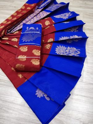 Ruby Red and Ink Blue Colour Silk Cotton Saree